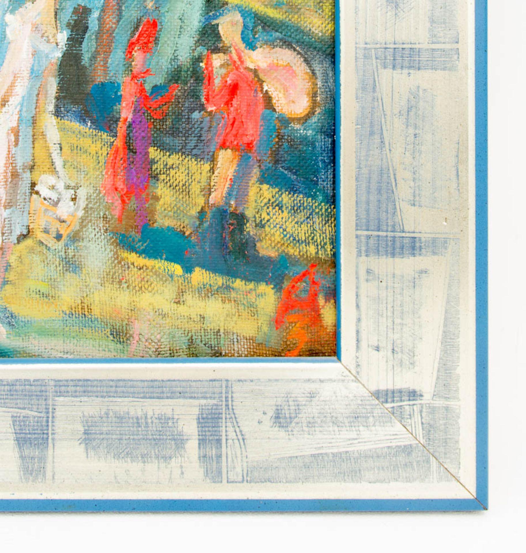 Abstrakte Komposition, Stadt mit Menschen, 20. Jh.Signiert und gerahmt.Rückseite - Bild 3 aus 4