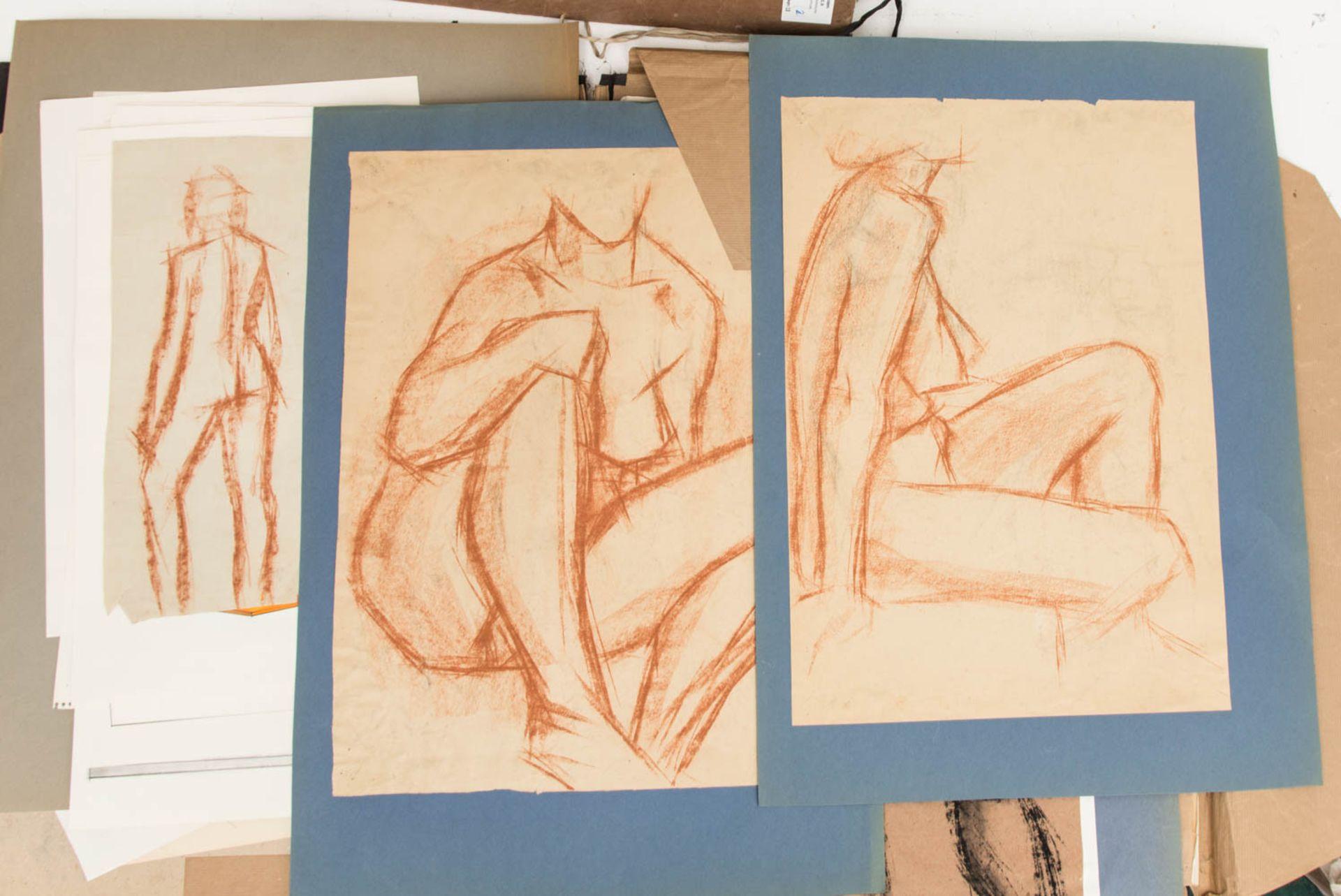 Franz Dreyer, Zwei Grafikmappen, Mischtechniken, Stuttgart 20. Jh.Zwei Mappen mit Akts - Bild 2 aus 3