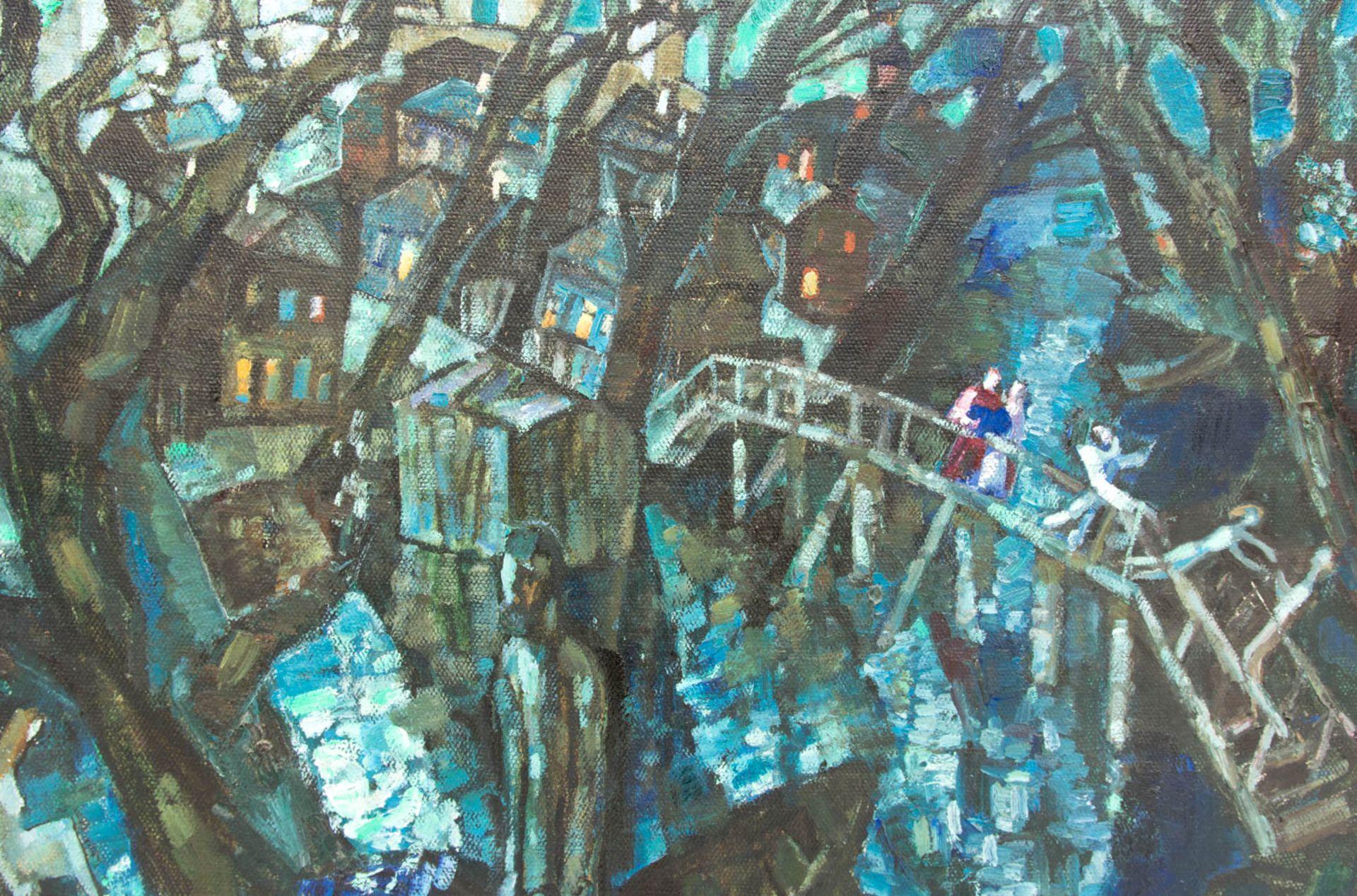 Abstrakte Komposition mit Bäumen, Stadt und Menschen, Acryl auf Leinwand.Rückseite m - Bild 2 aus 5