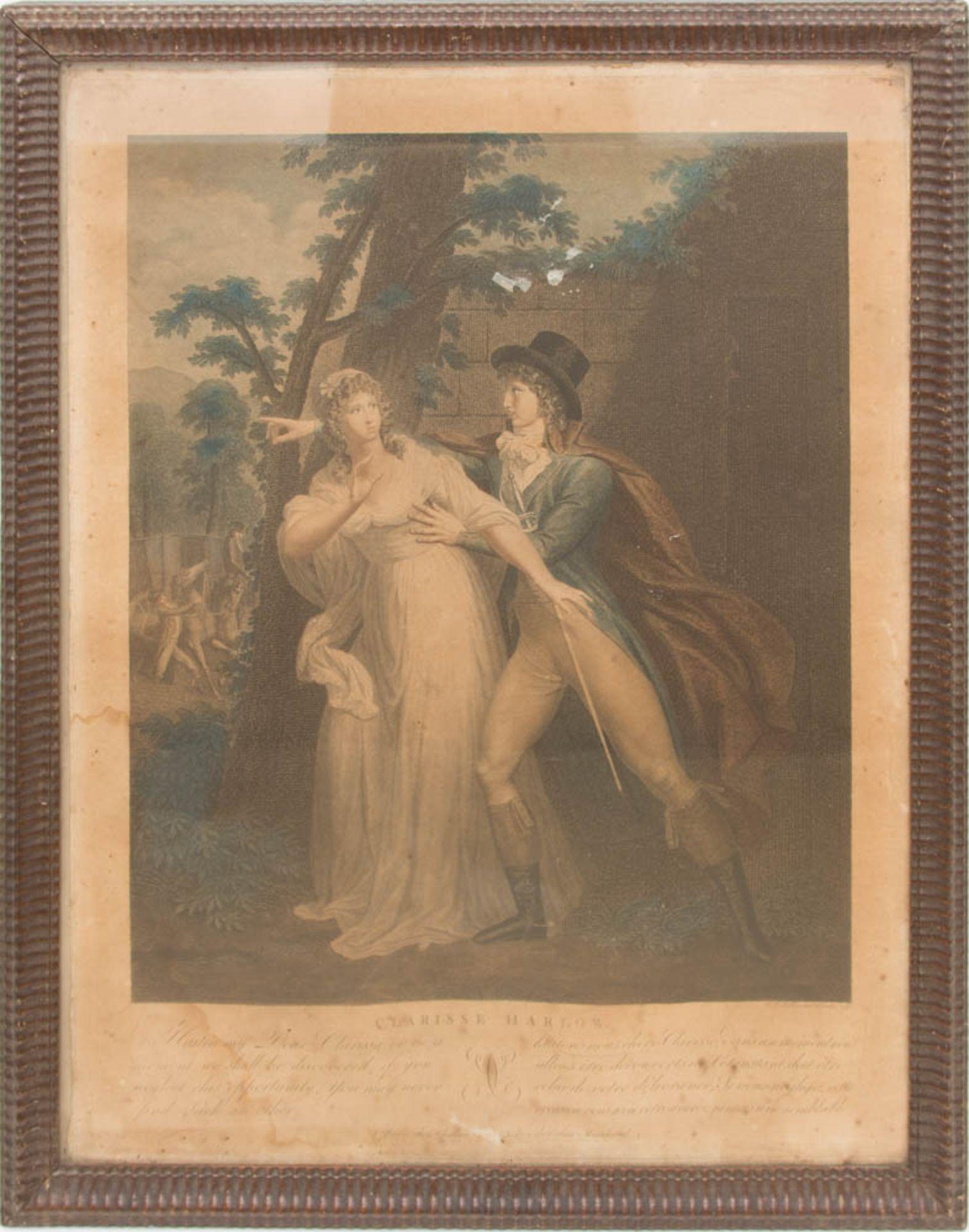 Die Leiden der Clarissa von Harlow, Druckgrafik, 19. Jh.Beide hinter Glas gerahmt, lei - Bild 2 aus 7