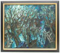 Abstrakte Komposition mit Bäumen, Stadt und Menschen, Acryl auf Leinwand.Rückseite m