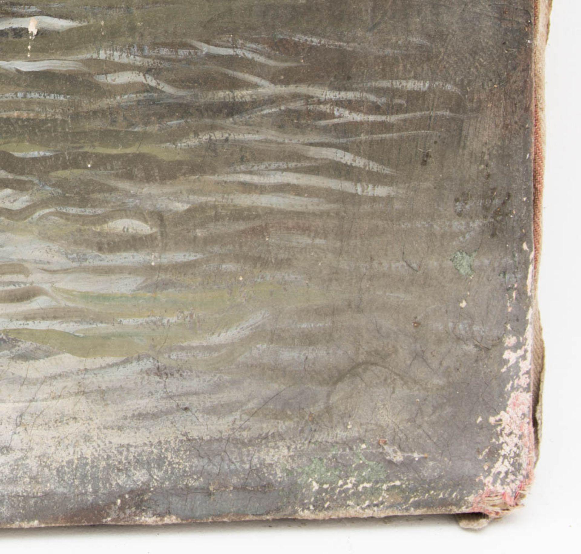 Fischender Junge bei der Brücke, Öl auf Leinwand, 20. Jh.Nicht gerahmt und datiert.< - Bild 3 aus 6