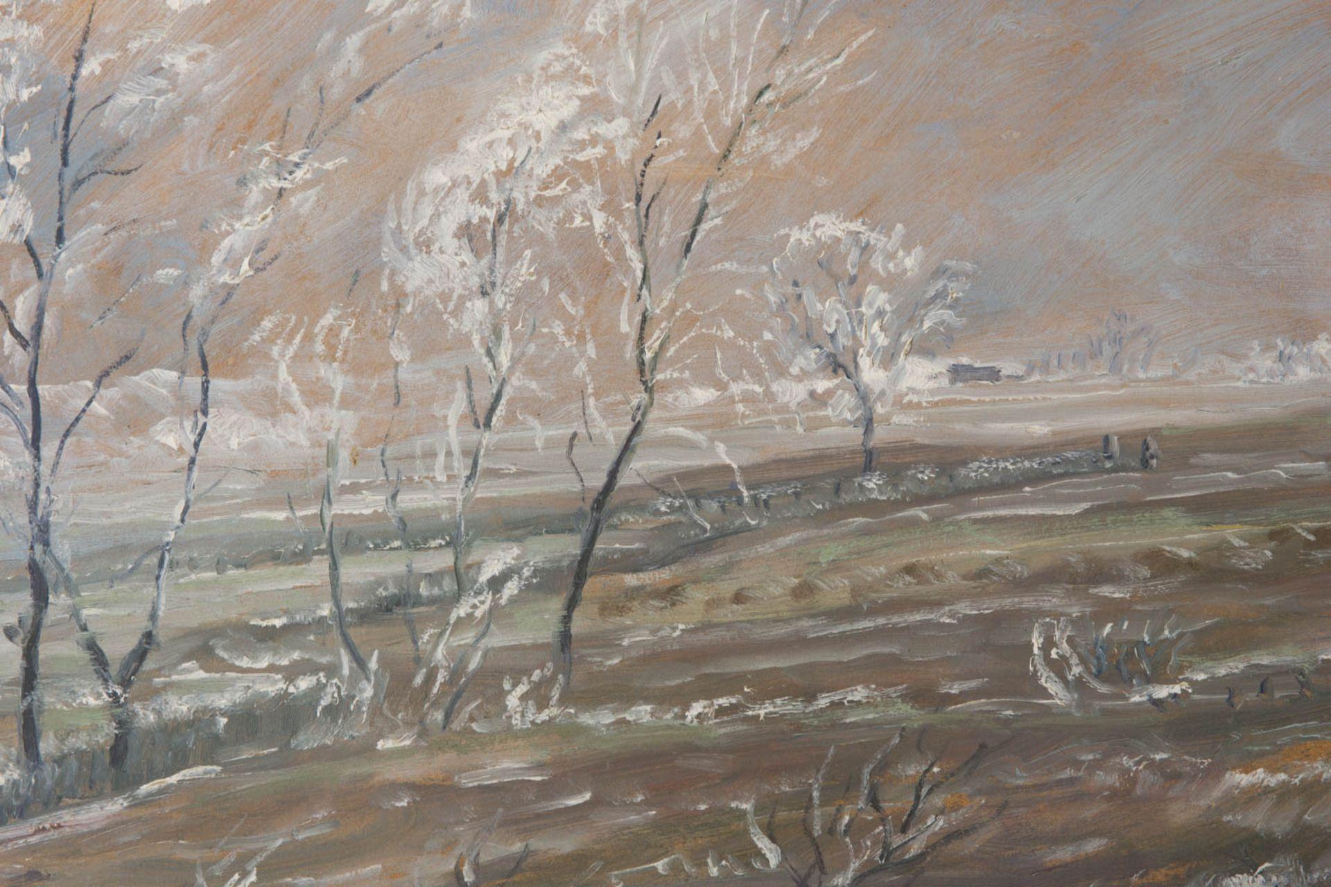 Wohl Walter Bertelsmann, Winterlandschaft, Acryl auf Platte, 20. Jh.Hinter Glas gerah - Bild 2 aus 3