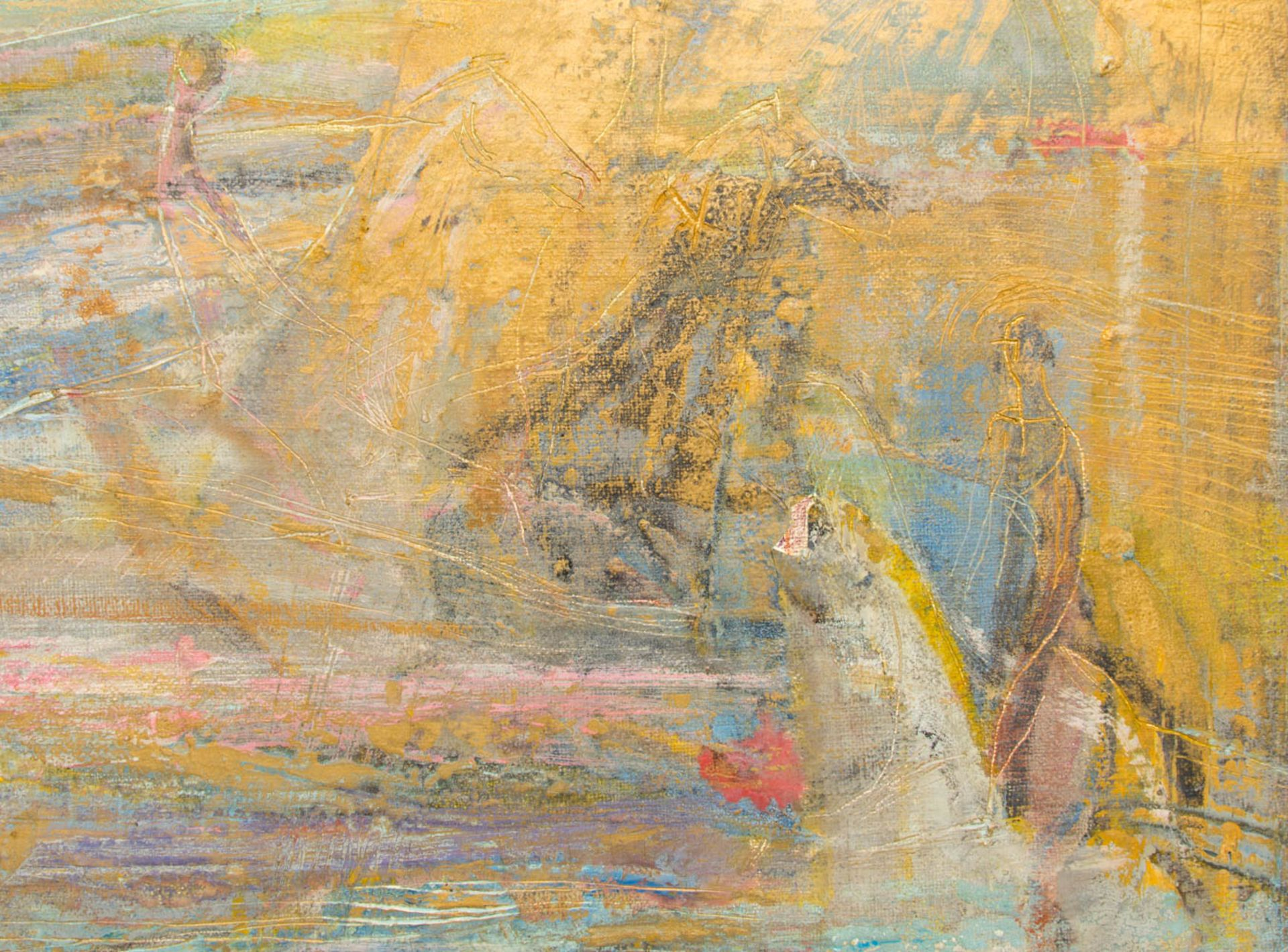 Abstrakte Komposition, Enkaustik auf Leinwand.Signiert unten rechts, gerahmt.Rück - Bild 2 aus 4