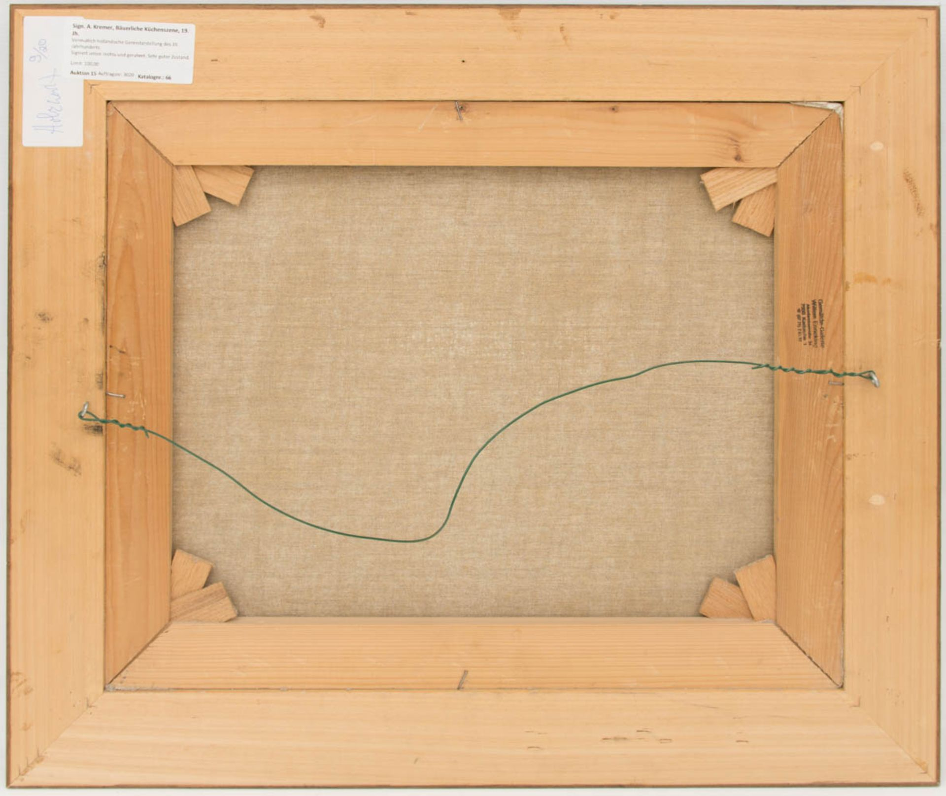 Sign. A. Kremer, Bäuerliche Küchenszene, Öl auf Leinwand, 19. Jh.Vermutlich hollän - Bild 5 aus 5