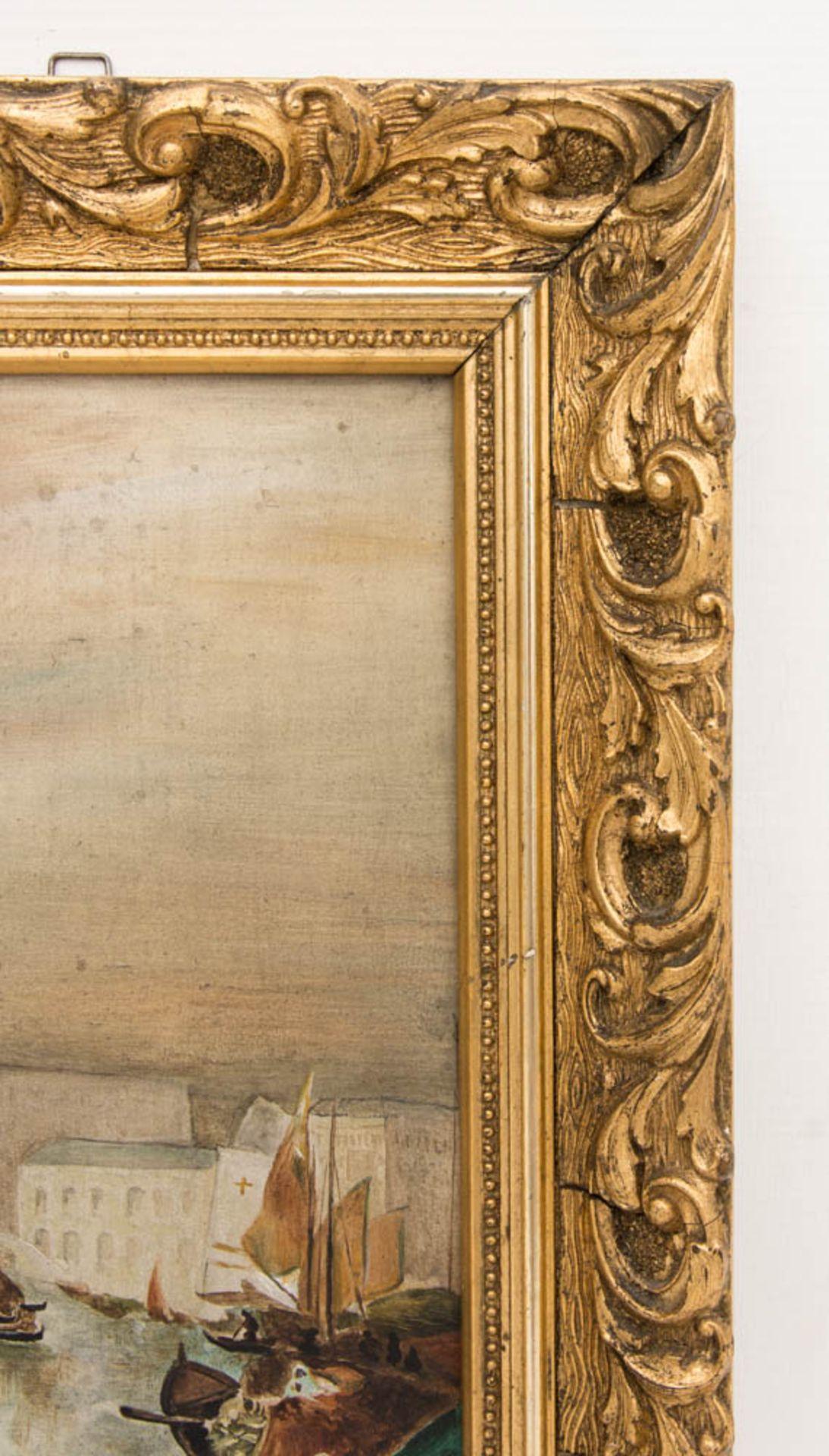Monogrammiert R.E. 04, Öl auf Holz, Zwei Gemälde mit Ansichten von Venedig.Ansicht a - Bild 4 aus 6
