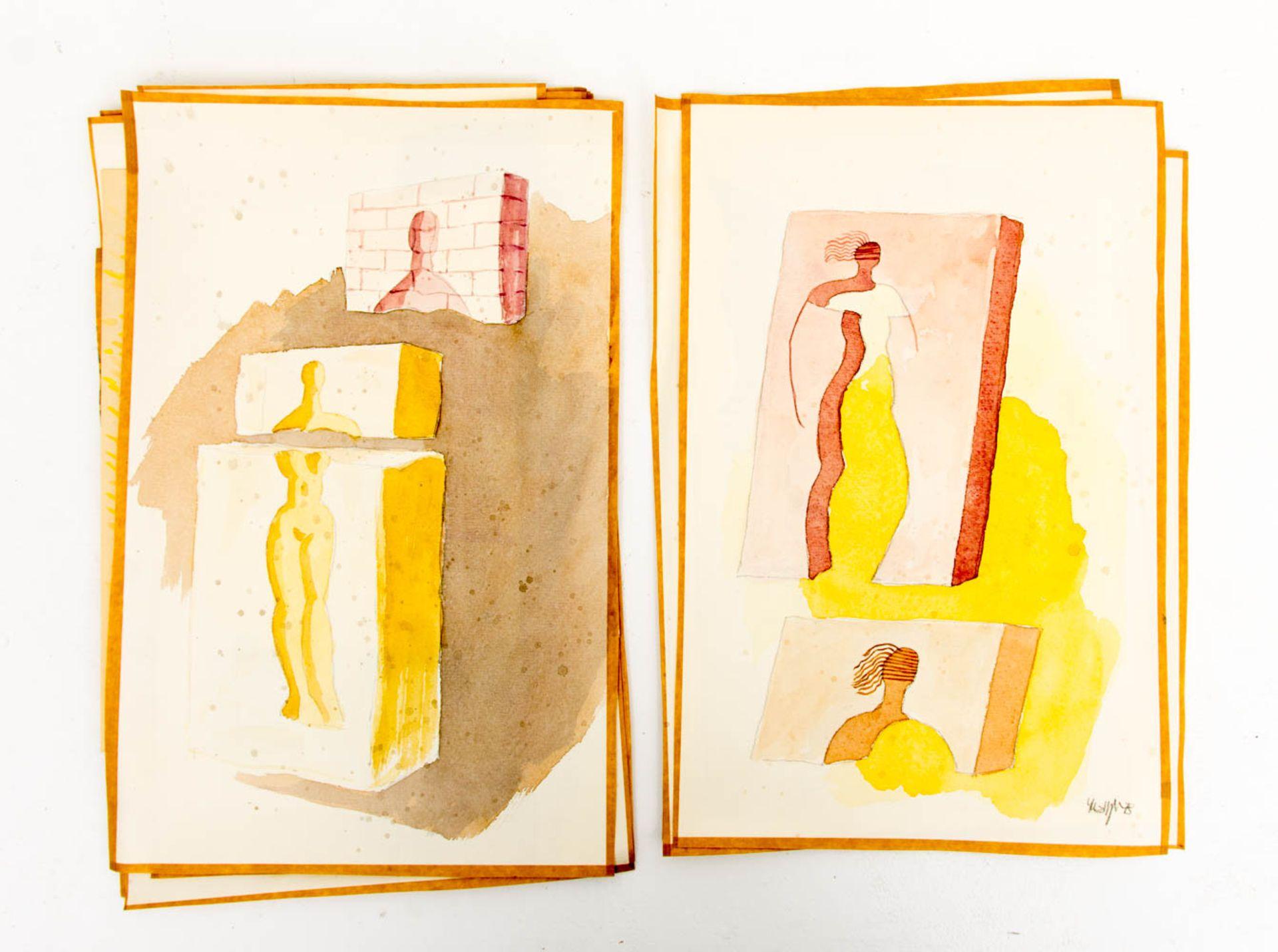 Franz Dreyer, Konvolut von über 100 verschiedenen Aquarellen und Zeichnungen, Stuttgart 20. Jh. - Bild 5 aus 5