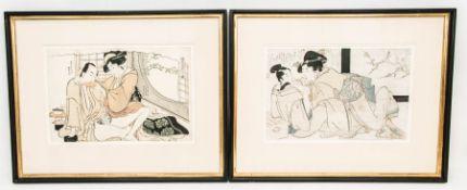 Zwei japanische erotische Darstellungen, kolorierter Druck, 18. Jh.