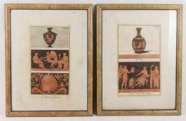 Zwei Stiche mit attischer Vasenmalerei des rotfigurigen Stils, 20. Jh.