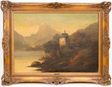 Conrad Wimmer, Landschaftsansicht mit Burg, Öl auf Leinwand, 19.Jh.