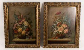 Zwei pittoreske Blumenstillleben, Öl auf Platte, 19. Jh.