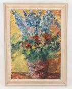 Sign. F. Haushofer (?), Zwei farbenprächtige Blumenstillleben, verschiedene Techniken, Deutschland 2