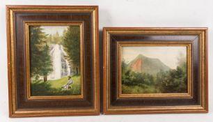M. Souvigne, Zwei pittoreske Landschaftsszenen, Acryl auf Platte, 20. Jh.