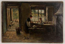 Signiert J. Harding, Bei der Wäsche, Öl auf Hartfaserplatte, 20. Jh.