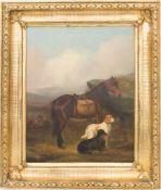 Colin Graeme, Hunde und Pferd in schottischer Landschaft, Öl auf Leinwand, 19. Jh.