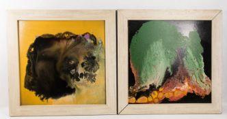 Konvolut von vier beziehungsweise fünf abstrakten Kompositionen, Mischtechnik auf Platte, 20. Jh.