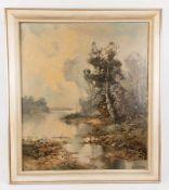 Ingrid Henze, Herbstlandschaft, Öl auf Leinwand, 20. Jh.