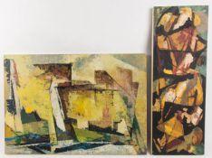 Wilhelm Imkamp, Zwei abstrakte Gemälde, Mischtechnik auf Hartfaserplatte, 20. Jh.