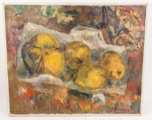 Manfred Henninger, Stillleben mit Zitronen, Öl auf Leinwand, 20. Jh.
