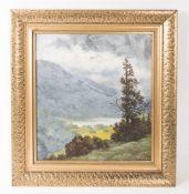 Sign. T. Heine, Paysage lacustre, Öl auf Platte, 20. Jh.