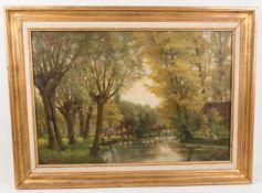 Schöne Landschaftsdarstellung, Öl auf Leinwand, 20. Jh.