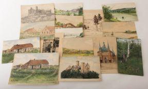 32 verschiedene Zeichnungen und Skizzen, 20. Jh.