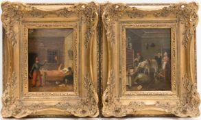 Johann Phillipp Ulbricht, Paar humorvolle Szenen, Öl auf Holz, Mitte 18. Jh.