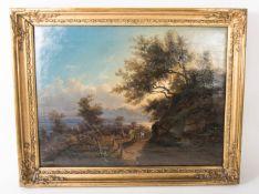 Pittoreske Biedermeier-Landschaft, Öl auf Leinwand, 19. Jh.