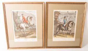 """Johann Elias Ridinger, Neun Reiterdarstellungen aus der Folge """"Neue Reitschule"""" von 1734."""