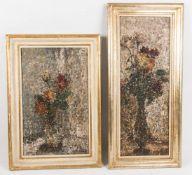 Zwei Blumenstillleben, Öl auf Platte, 20. Jh.
