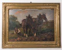 Sign. H. Schütz, Feierabend, Öl auf Platte, 20. Jh.