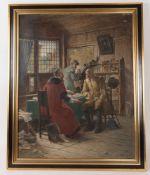 Nach Adolf Humborg, Herrenrunde, Öldruck auf Leinwand, Deutschland, 20. Jh.