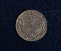 Rarität: 50 Reichspfennig 1932 G, Jaeger Nr. 324.