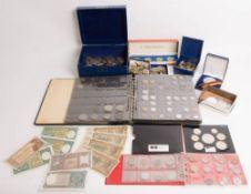 Großsammlung Münzen, Medaillen, Banknoten, mit Silber.