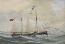 """Chappell (of Goole), Reuben (1870-1940) Zweimaster """"Annabell"""", Aquarell/ Deckfa"""