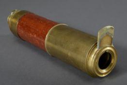 Messing/Holz Einrohr, Gesamtl. 92cm, starke Gebrauchsspuren