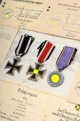 14 Teile diverse Orden und Ehrenzeichen mit Verleihungsurkunden, WK I/II, aus d