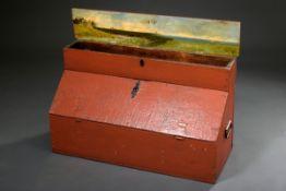 Alte Schiffzimmermanns Kiste mit seitlichen Metallgriffen, Holz mennigrot gefas