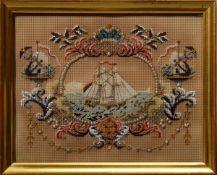 "Biedermeier Perlstickerei ""Segelschiff"" 1838, verso dat./bez., 18,5x23,5cm (m.R"