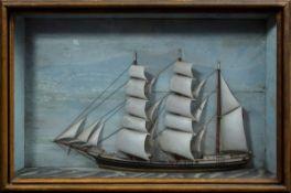 """Halbmodell Dreimast-Barke mit dänischer Flagge (Name unleserlich """"A...""""?), Holz"""
