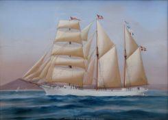"""Simone, Antoine de (1805-1907) zugeschr. """"Kapitänsbild Dreimastschoner Johannes"""