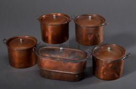5 Teile Puppen Kochtöpfe, Kupfer/Zink, um 1900, H. 9,5/10,5cm, Druckstellen