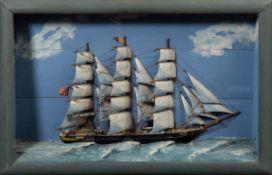 """Halbmodell Dreimast-Bark """"Czar"""" mit norwegischer Flagge, Holz, farbig gefasst,"""