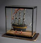 """Miniatur Schiffsmodell """"Emigrant"""" mit dänischer Flagge in Schaukasten, 19.Jh.,"""