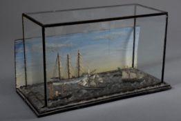 """Miniatur Diorama """"Schiffsverkehr auf See"""", Holz farbig gefasst mit teilweise ge"""