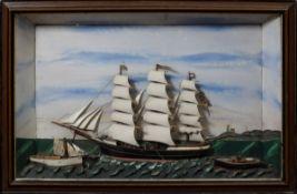 """Halbmodell Segelschiff """"Emma"""" mit Beiboot """"Erich"""", in Schaukasten, 50x75x10cm,"""