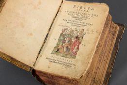 """Band """"Biblia Sacra"""" in lateinischer Sprache, Holzdeckel mit Pergament überzogen"""