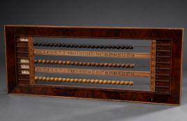Zähltafel/Scoreboard mit Holzperlen (wohl für Billard/Snooker), Mahagonifurnier