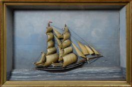 """Halbmodell """"Zweimastschoner-Walfänger"""", Holz, farbig gefasst, in Schaukasten, 7"""