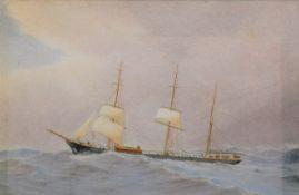 "Pervical, Harold (1868-1914) ""Kapitänsbild Bark J.T. North, Liverpool"" 1899, Aq"